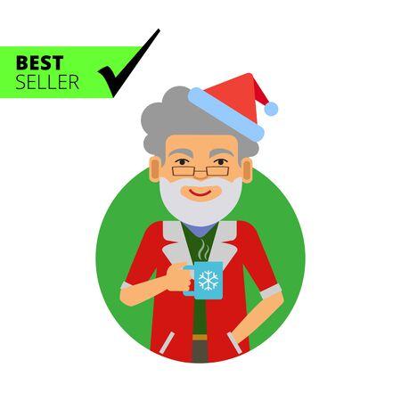 fake: Male character, portrait of smiling man wearing Santa costume and fake beard, holding mug Illustration