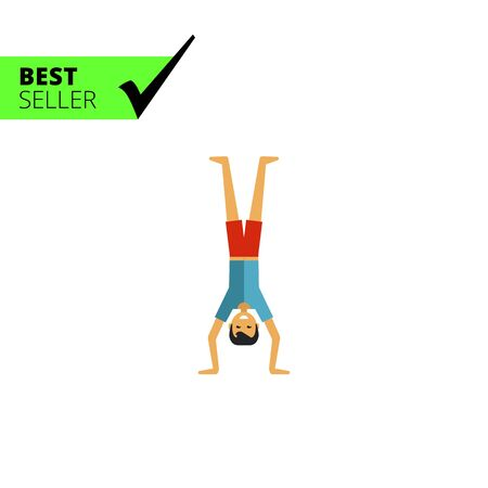 young man standing: Multicolored vector icon of young man standing on head Illustration