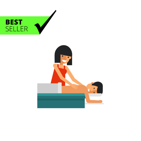 massaging: Multicolored vector icon of young woman massaging young man