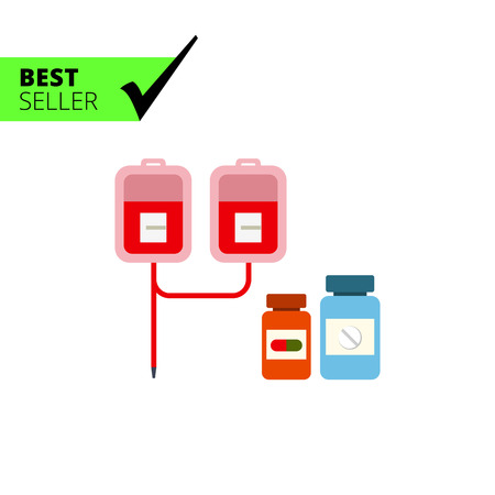 doses: Multicolored vector icon of medical drip with iv bags and two pill bottles
