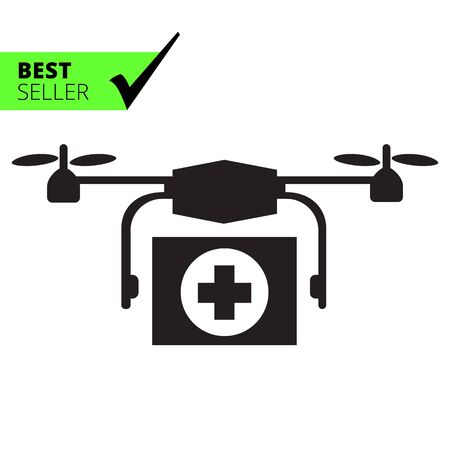 hovering: Vector icon of hovering medical emergency drone