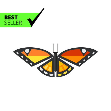feeler: Multicolored vector icon of orange butterfly with black stripes and white spots Illustration
