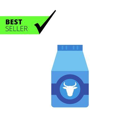 envase de leche: icono de vectores multicolor de cartón de leche con la imagen cabeza de vaca