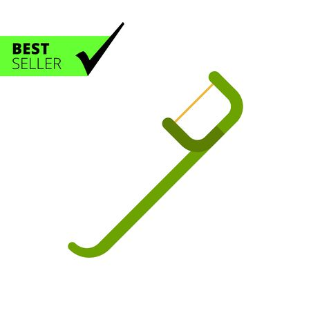 green cleaning: Vector icon of green mini flosser for teeth cleaning