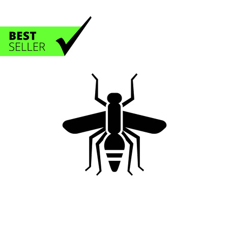 suck: Vector icon of mosquito silhouette, top view