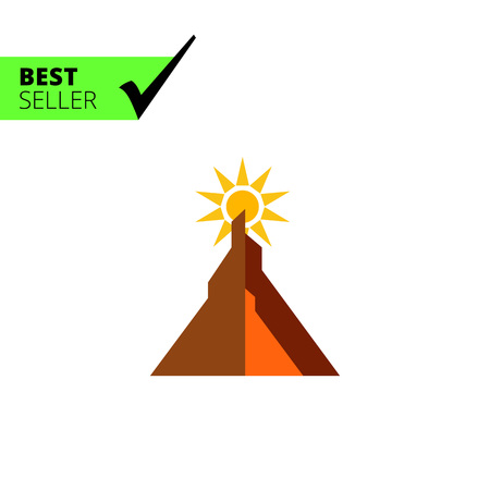 from behind: Multicolored vector icon of sun shunning behind mountain