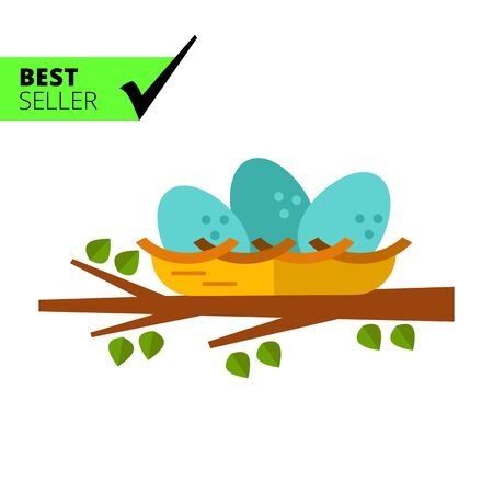 brittle: Multicolored vector icon of nest with three eggs on tree branch