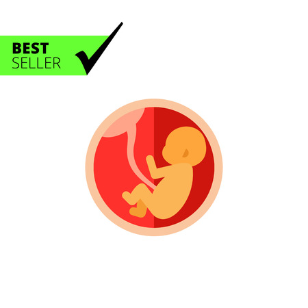 Multicolored vector icon of fetus with umbilical cord