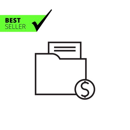 Icon of folder with paper document and dollar sign Illustration