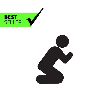man begging: Vector icon of man silhouette standing on knees and praying