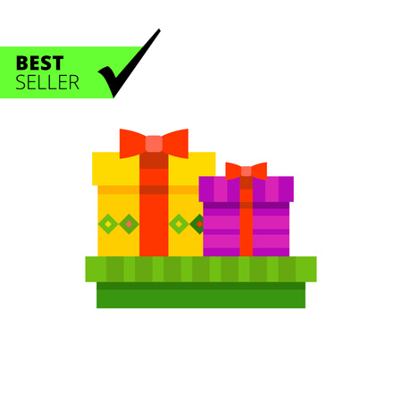christmas present box: Multicolored vector icon of three present boxes with bows