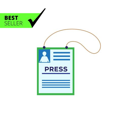 accreditation: Vector icon of press accreditation card on string Illustration
