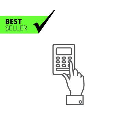 pressing: Icon of man�s hand pressing ATM keypad Illustration