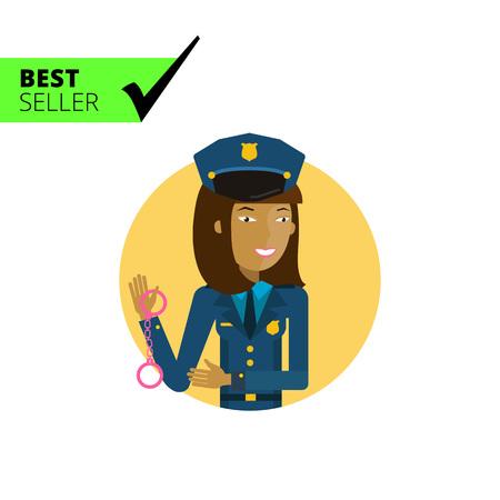 mujer policia: Personaje femenino, retrato de joven mujer policía de explotación esposas asiáticas