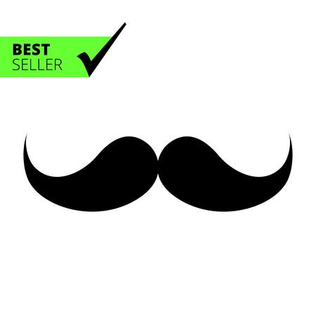 moustache: Vector icon of black retro male moustache
