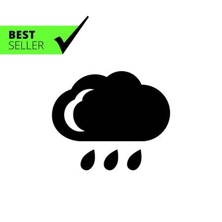 few: Icon of cloud and few falling raindrops Illustration