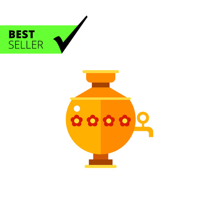 samovar: Multicolored vector icon of samovar, special kettle for boiling water for tea in Russia