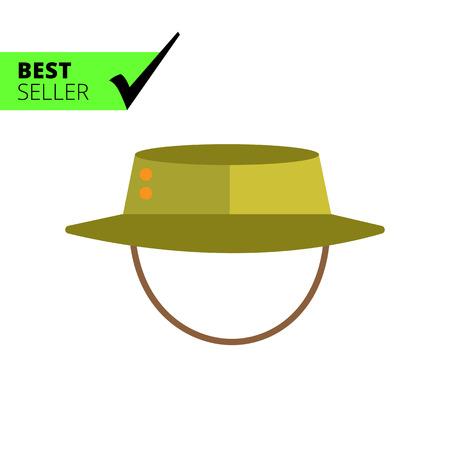 brim: Vector icon of safari hat with string