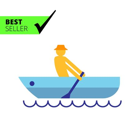 Icon of mans silhouette rowing in boat