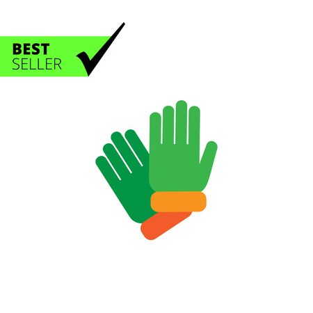 rubber gloves: Vector icon of two protective rubber gloves