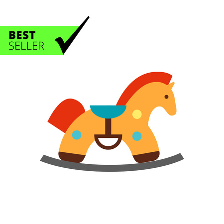 bridle: Multicolored vector icon of retro rocking horse Illustration