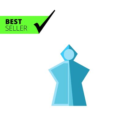 lightweight: Vector icon of blue lightweight rain poncho with hood