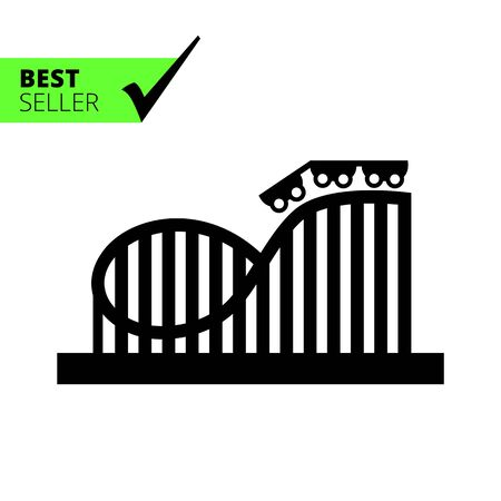 Vector icon of roller coaster silhouette with wagons and rails