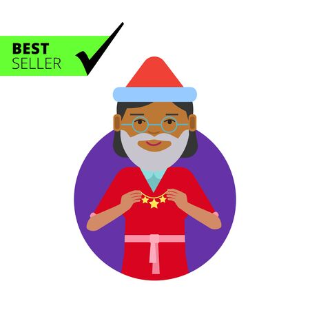 christmas costume: Female character, portrait of African American woman wearing Santa costume, holding Christmas ornament