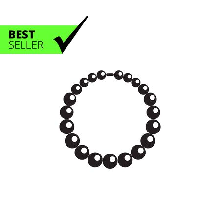 bijouterie: Vector icon of shiny necklace made of beads Illustration