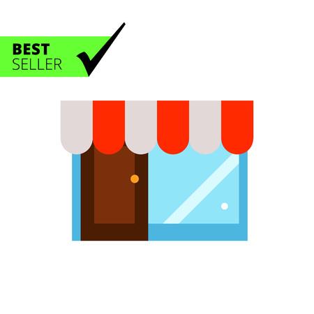 shop window: Multicolored vector icon of shop building with door and window Illustration