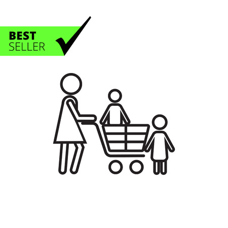 small children: Icon of woman silhouette with children and shopping cart