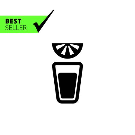lime slice: Vector icon of tequila short glass and lime slice