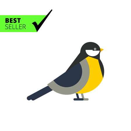 titmouse: Multicolored vector icon of titmouse, side view Illustration