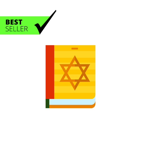 the sacrament: Multicolored vector icon of Torah book with star of David on cover