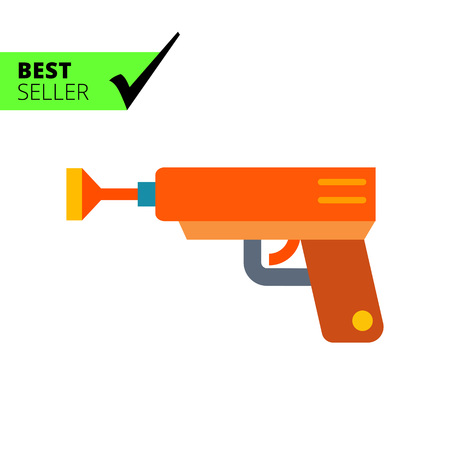 baby toys: Multicolored vector icon of orange toy pistol