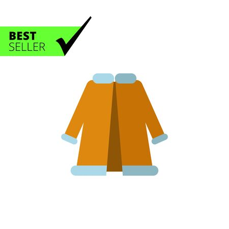 fur coat: Multicolored vector icon of blue woman fur coat Illustration