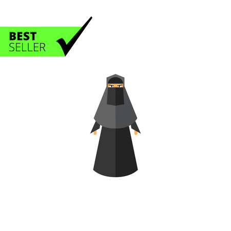 black woman: Multicolored vector icon of woman wearing black burqa