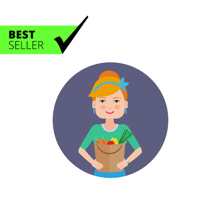 woman holding bag: Female character, portrait of smiling woman holding paper bag filled with vegetables Illustration
