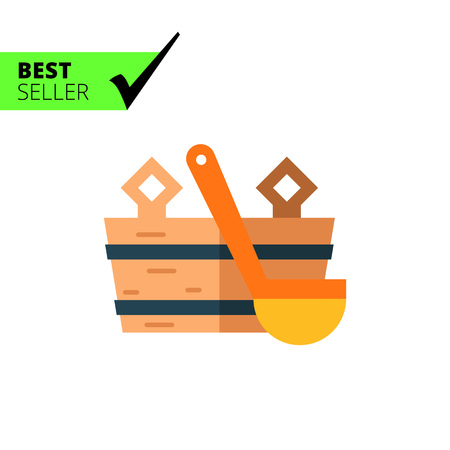 cleanse: Multicolored vector icon of wooden bucket and water scoop