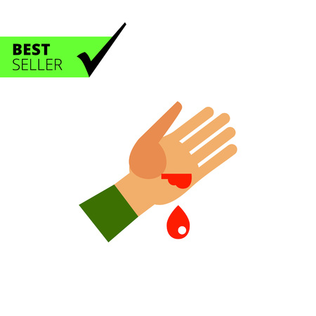 skin injury: Multicolored vector icon of wounded human palm and blood drop