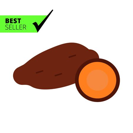 tuber: Vector icon of yam tuber and cut yam half