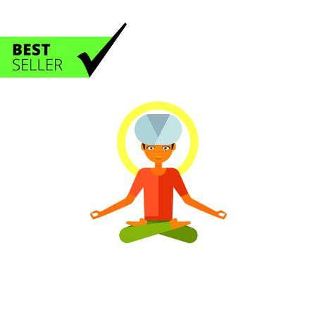 lotus position: Multicolored vector icon of male character sitting in Lotus position