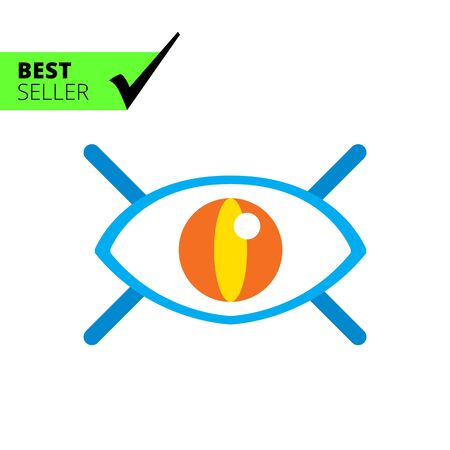 open eye: Icon of open human eye with lashes Illustration