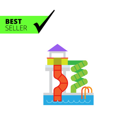 adrenaline: Vector icon of waterpark with pool and slides