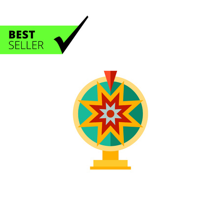 wheel of fortune: Multicolored vector icon of toy wheel of fortune