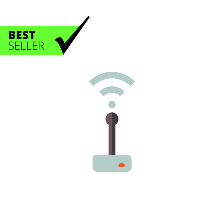 transmitting device: Multicolored vector icon of wifi router transmitting signal Illustration