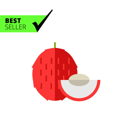 protuberance: Multicolored vector icon of whole exotic fruit litchi and cut piece Illustration