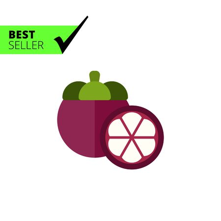 mangosteen: Multicolored vector icon of whole fruit mangosteen and cut half