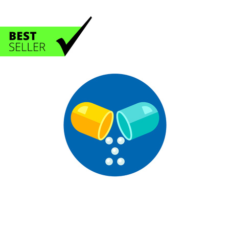 prescribing: Multicolored vector icon of capsule pill, isolated on blue Illustration
