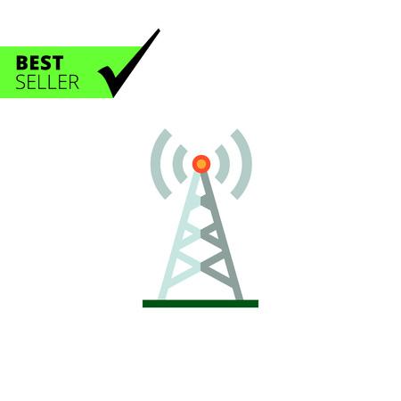transmitting: Multicolored vector icon of radio tower transmitting signal